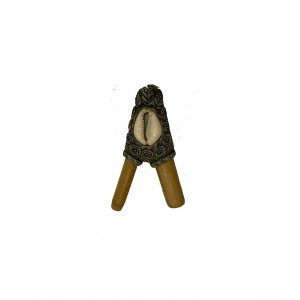 Трубка для Рапе (рапэ) ShamanShop Курипи Бамбуковое с аппликацией из ракушки ципреи (Kuripe) К122/2