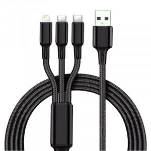 USB кабель High Quality универсальный 3 в 1 micro USB/Lightning/Type-C черный L-1,2м К4999