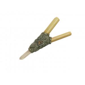 Трубка для Рапе (рапэ) ShamanShop Курипи Бамбук, полимерная глина, кристалл кварца (Kuripe) К.122/4